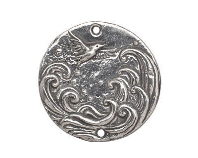 Green Girl Pewter Soaring Bird Coin Pendant Link 28mm