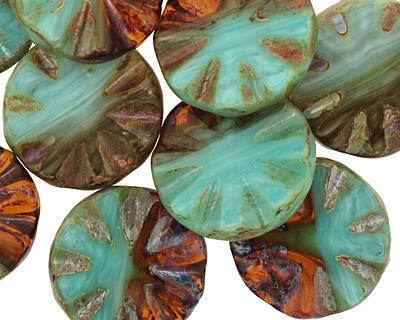Czech Glass Mint Chocolate Flower Window Coin 18mm