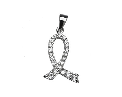 Sterling Silver & CZ Micro Pave Awareness Ribbon Pendant 14x20mm