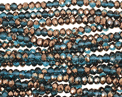 Capri Blue & Oiled Bronze Crystal Faceted Rondelle 3mm