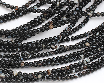 Black Sardonyx Round 4mm