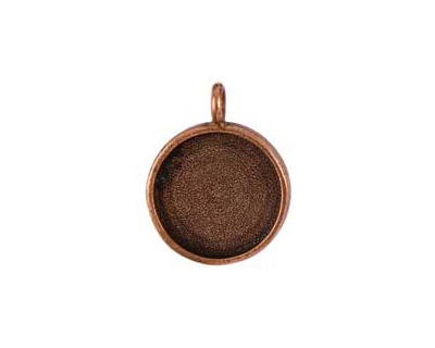 Nunn Design Antique Copper (plated) Large Circle Bezel Pendant 23x30mm