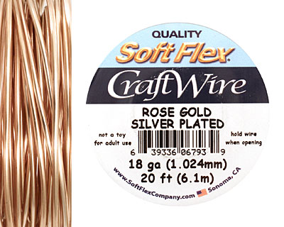 Soft Flex Silver Plated Rose Gold Craft Wire 18 gauge, 20 ft