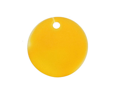 Saffron Yellow Recycled Glass Concave Coin 24mm