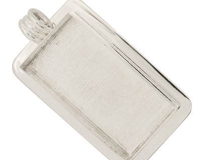 Silver (plated) Lipped Rectangle Bezel 21x44mm