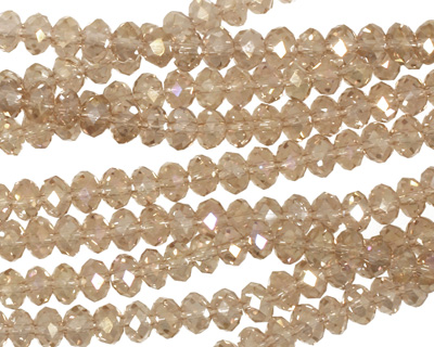 Champagne AB Crystal Faceted Rondelle 4mm