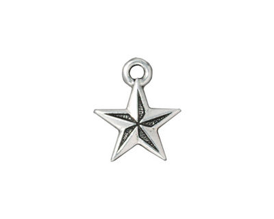 TierraCast Antique Silver (plated) Nautical Star Charm 15x18mm