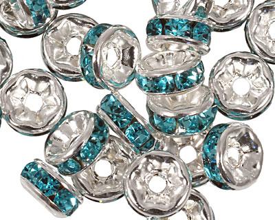 Silver (plated) Aquamarine Rhinestone Rondelle 3x6mm