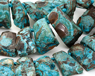 Turquoise Orbicular Jasper Graduated Faceted Nugget Drops 18-23x23-48mm