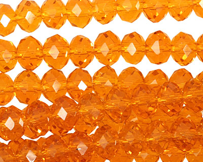 Sunset Orange Crystal Faceted Rondelle 8mm