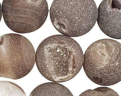 Druzy Agate (matte, dark) Round 18mm