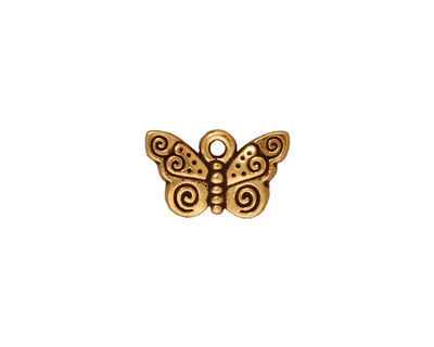 TierraCast Antique Gold (plated) Spiral Butterfly Charm 15x19mm