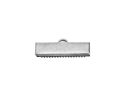 Rhodium (plated) Ribbon Crimp End 20mm