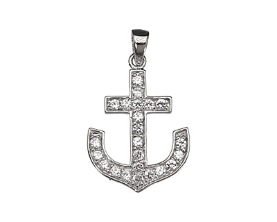 Sterling Silver & CZ Micro Pave Anchor Pendant 19x23mm