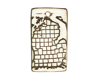 Earthenwood Studio Ceramic Oxidation Michigan Counties Pendant 25x45mm