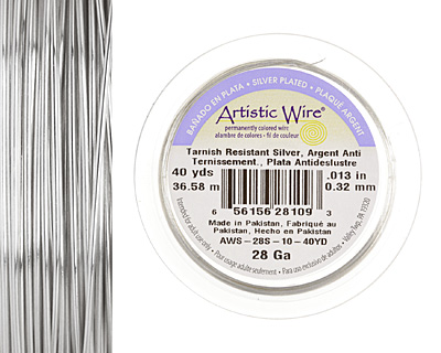 Artistic Wire Tarnish Resistant Silver 22 gauge, 10 yards