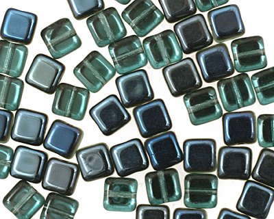 Czech Glass Teal w/ Blue Iris 1/2 Coat Square 6mm