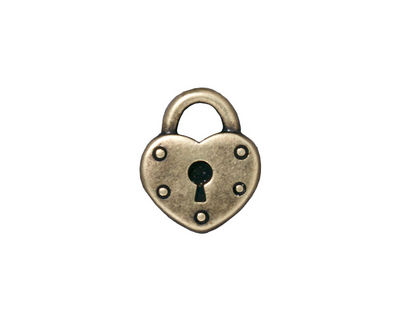 TierraCast Antique Brass (plated) Heart Lock Charm 14x16mm