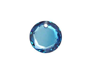 Sapphire Blue Faceted Coin 16mm