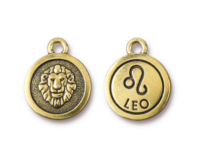 TierraCast Antique Gold (plated) Round Leo Charm 15x18mm