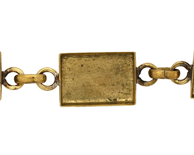 Brass Rectangle Bezel Link Bracelet 18x12mm