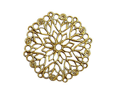 Stampt Antique Gold (plated) Poinsettia Filigree 28mm