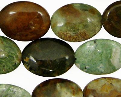 Petrified Green Opal Flat Oval 20x15mm