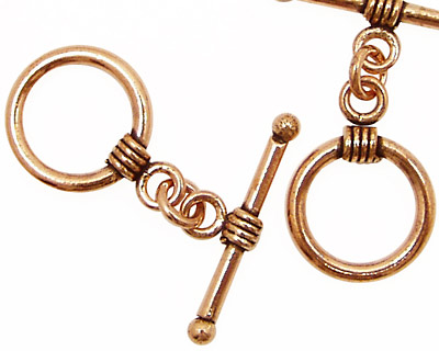 Antique Copper Toggle Clasp with Small Coil 16mm, 25mm Bar