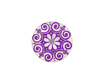 Lillypilly Purple Scrolling Daisy Anodized Aluminum Disc 19mm, 24 gauge
