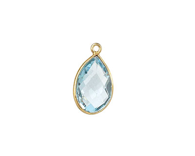 Aquamarine (syn.) Faceted Teardrop Pendant in Gold Vermeil 20x7-11mm
