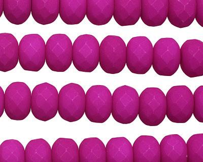 Czech Glass Dark Neon Vivacious Purple Faceted Rondelle 6x9mm