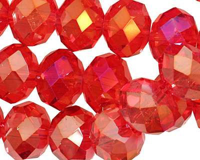 Siam Ruby AB Crystal Faceted Rondelle 14mm