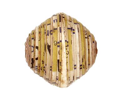 African Paper (cream, black) Bicone 24-25x26-27mm