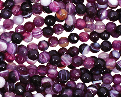 Purple Line Agate Faceted Round 4mm