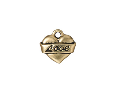 TierraCast Antique Gold (plated) Love Heart Charm 14mm