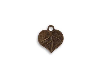 Vintaj Natural Brass Teensie Nouveau Leaf Charm 12x13mm