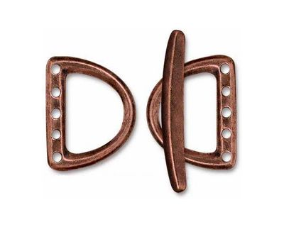 TierraCast Antique Copper (plated) Large 5 Hole D Ring Clasp Set 19x24mm, 34mm bar