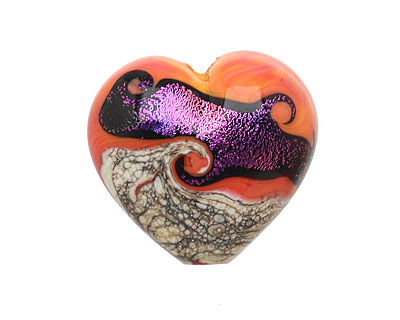 Grace Lampwork Magic Moment Waves Large Heart 24x26mm