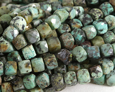 African Turquoise Small Faceted Cube 5mm