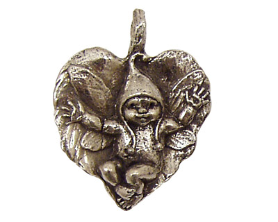 Green Girl Pewter Fairy Baby Leaf 27x34mm