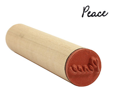 Peace (cursive) Mini Rubber Stamp 17x8mm