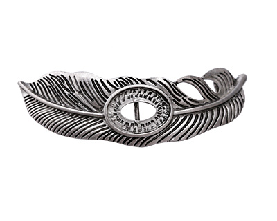 Zola Elements Antique Silver (plated) Owl Feather Bezel 7mm Flat Cord Slide 72x21mm