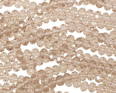 Khaki Crystal Faceted Rondelle 4mm