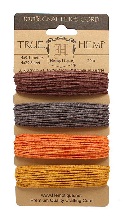 Harvest Hemp Twine 20 lb, 29.8 ft x 4 colors