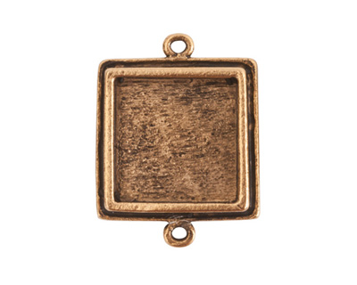Nunn Design Antique Gold (plated) Traditional Square Bezel Pendant Link 28x21mm