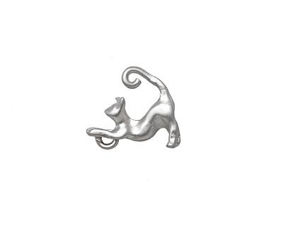 Ezel Findings Rhodium (plated) Cat Charm 4x15mm