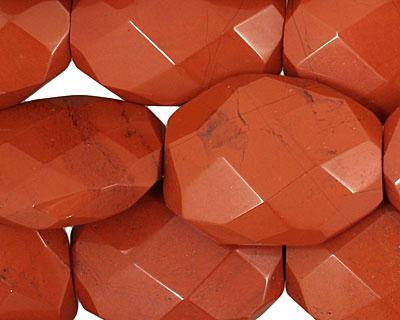 Red Jasper Faceted Irregular Flat Oval 28-29x20-22mm