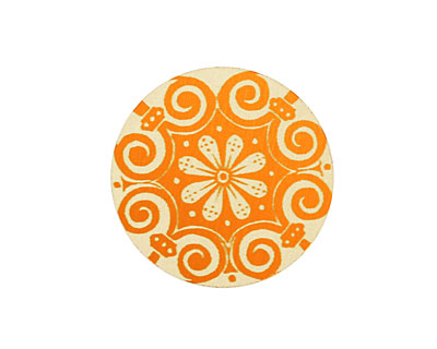 Lillypilly Orange Scrolling Daisy Anodized Aluminum Disc 25mm, 24 gauge