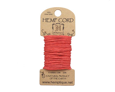 Sunset Coral Hemp Twine 20 lb, 20 ft