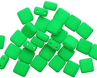 Czech Glass Bright Neon Green 2-Hole Tile 6mm